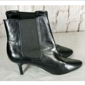 Ralph Lauren Black Leather Ankle Boots Sz 8 Womens